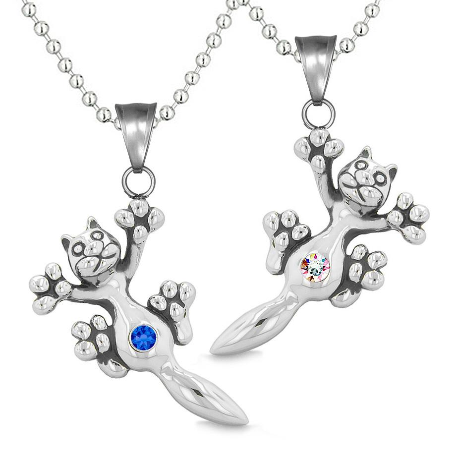 Amulets Cute Kitty Cat Love Couples or Best Friends Set Blue Rainbow Sparkling Crystals Necklaces
