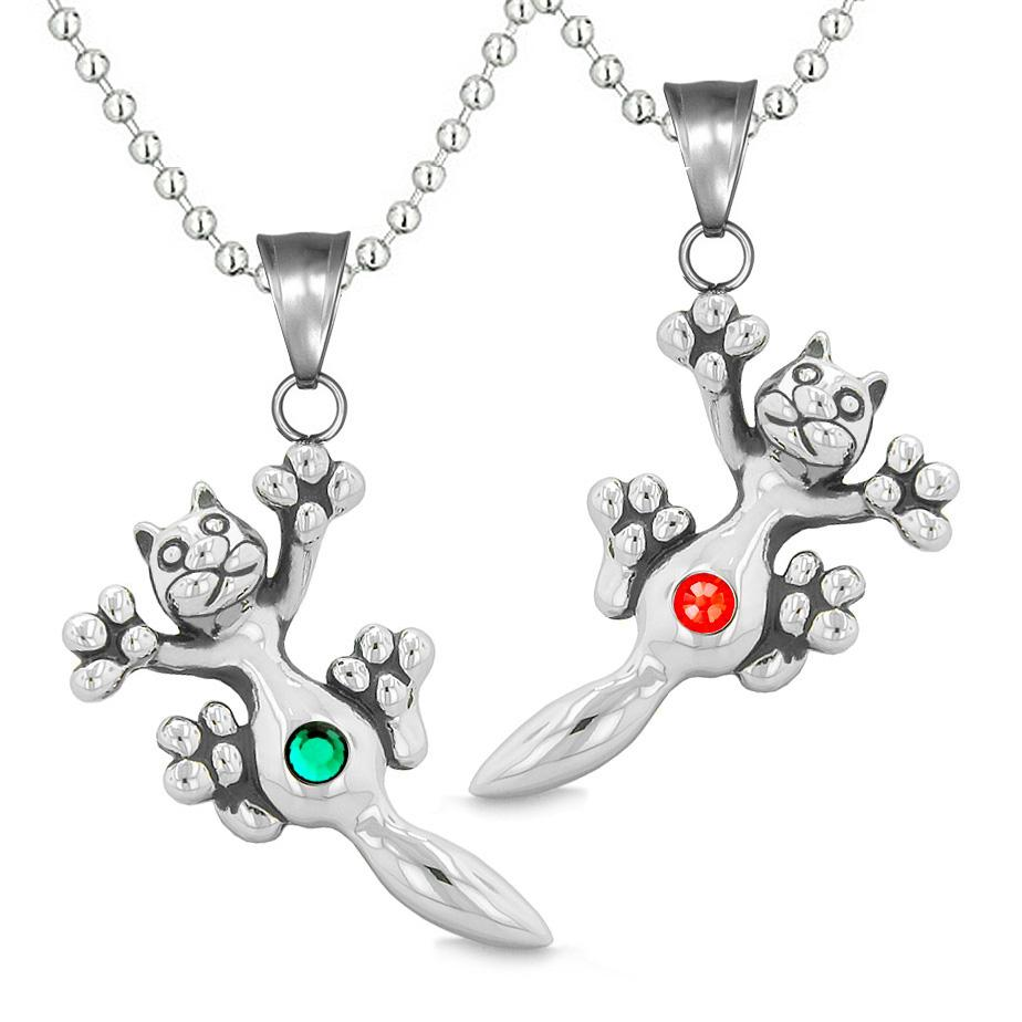 Amulets Cute Kitty Cat Love Couples or Best Friends Set Green Red Sparkling Crystals Necklaces
