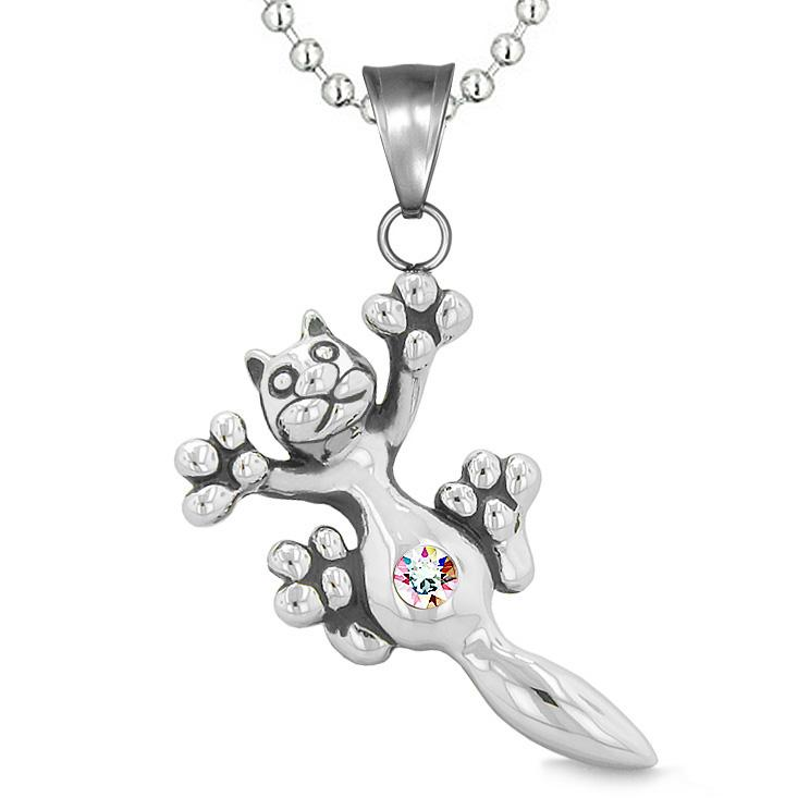 Cute Fun Kitty Cat Lucky Charm Belly Button Rainbow Sparkling Crystals Amulet Pendant Necklace