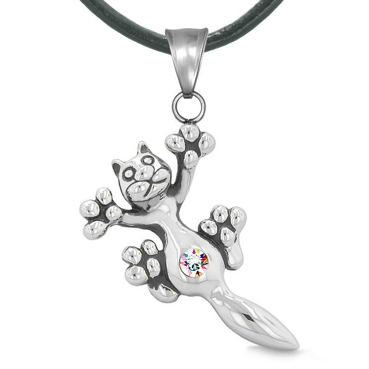 Cute Fun Kitty Cat Lucky Charm Belly Button Rainbow Sparkling Crystal Amulet Leather Necklace