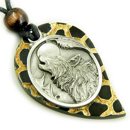 Magic Amulet Howling Wolf Head on Leopard Textured Horn Necklace