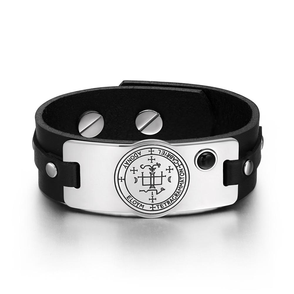 Archangel Gabriel Sigil Magic Powers Amulet Simulated Black Onyx Adjustable Black Leather Bracelet