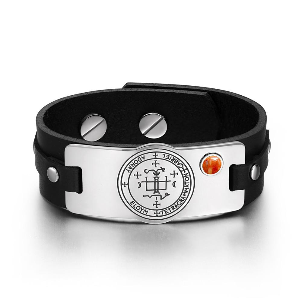 Archangel Gabriel Sigil Magic Powers Amulet Red Jasper Gemstone Adjustable Black Leather Bracelet