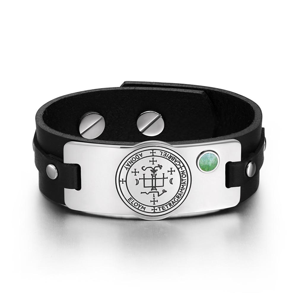 Archangel Gabriel Sigil Magic Powers Amulet Green Quartz Gemstone Black Leather Bracelet