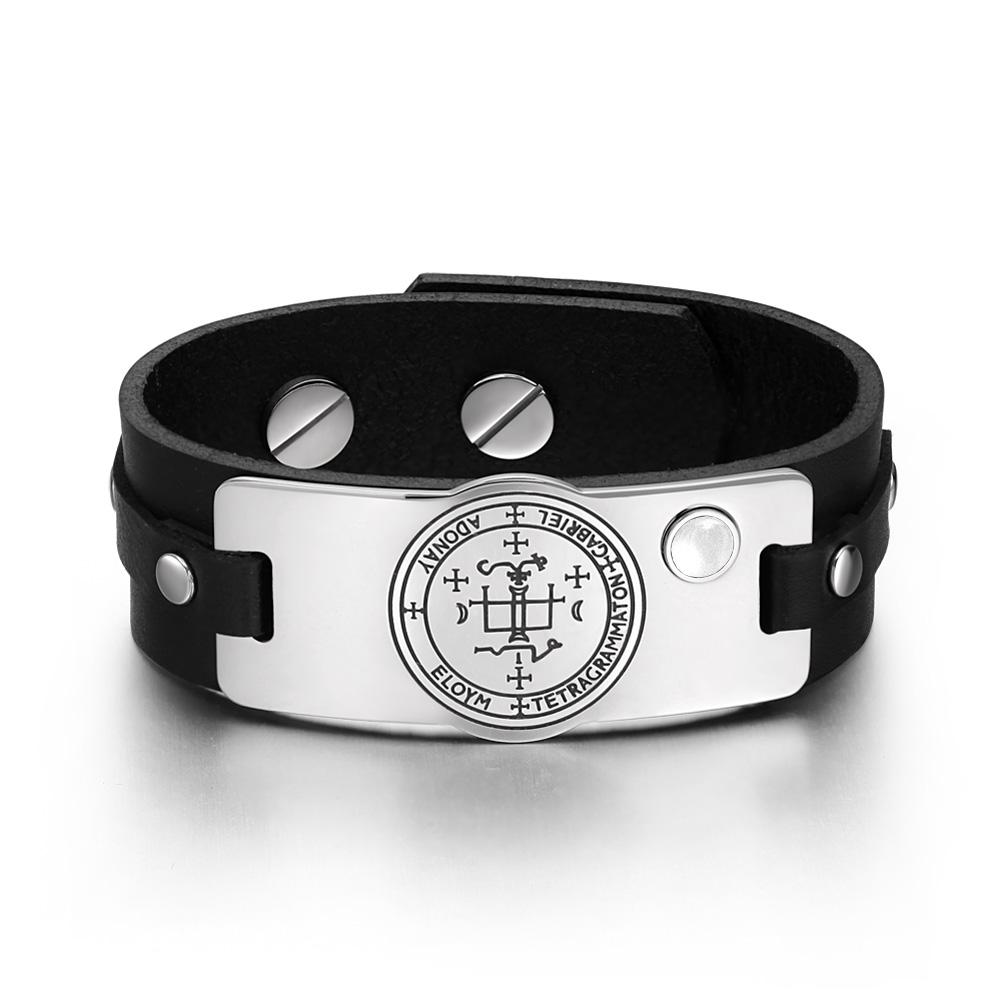 Archangel Gabriel Sigil Magic Power Amulet White Simulated Cats Eye Black Leather Bracelet