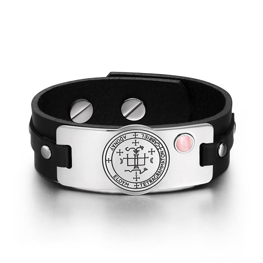 Archangel Gabriel Sigil Magic Powers Amulet Pink Simulated Cats Eye Black Leather Bracelet
