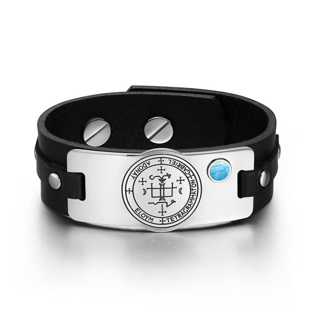 Archangel Gabriel Sigil Magic Powers Amulet Simulated Turquoise Adjustable Black Leather Bracelet