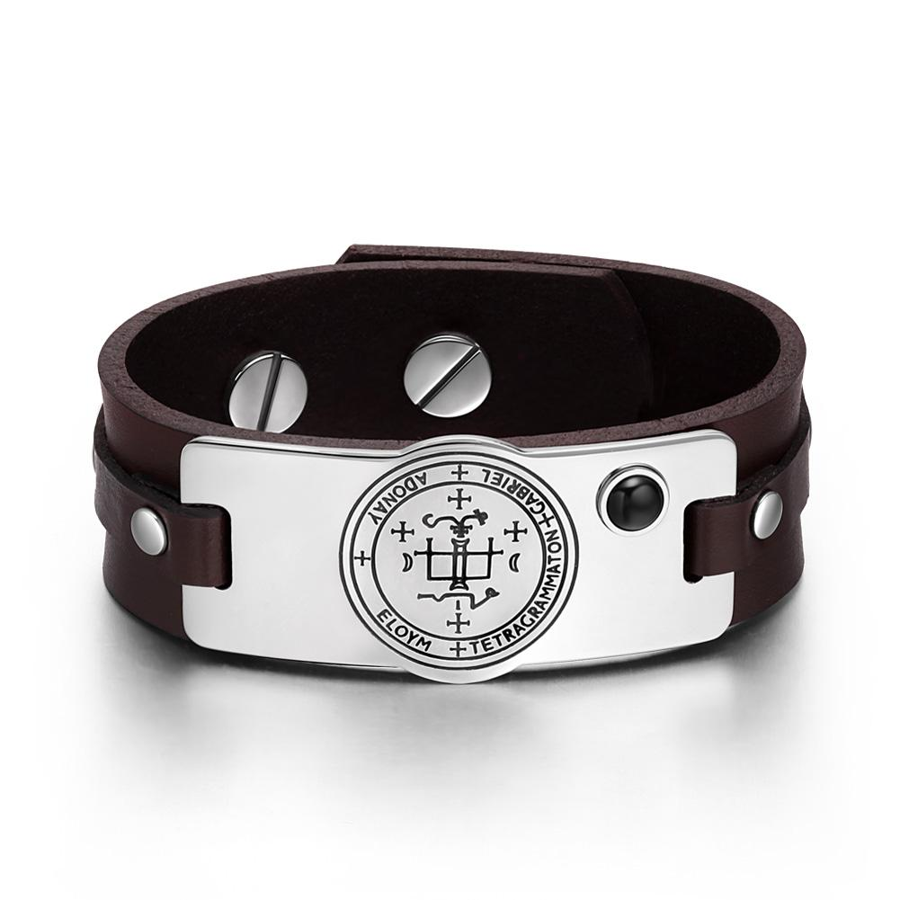 Archangel Gabriel Sigil Magic Powers Amulet Simulated Black Onyx Adjustable Brown Leather Bracelet