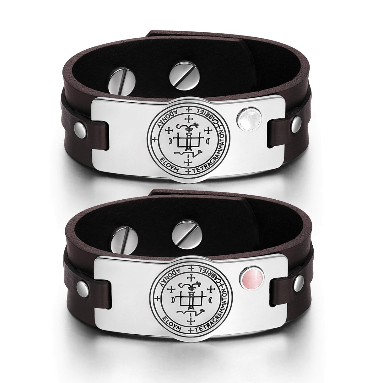 Archangel Gabriel Sigil Love Couples White Pink Simulated Cats Eye Amulet Brown Leather Bracelets