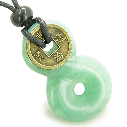 Infinity Magic Knot Lucky Coin and Money Amulet Green Aventurine Gemstone Pendant Necklace