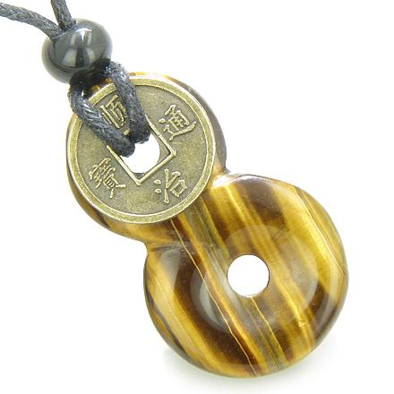 Infinity Magic Knot Lucky Coin and Evil Eye Protection Amulet Tiger Eye Gemstone Pendant Necklace