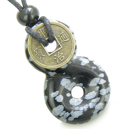 Infinity Magic Knot Lucky Coin Evil Eye Protection Amulet Snowflake Obsidian Pendant Necklace