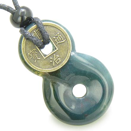 Infinity Magic Knot Lucky Coin and Good Luck Amulet Indian Agate Gemstone Pendant Necklace