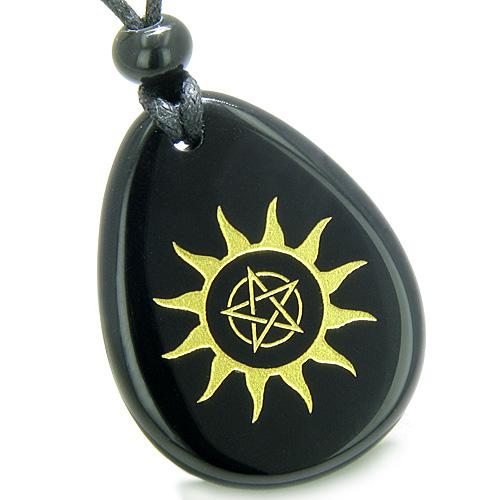 Amulet Star Pentacle Sun Energy Magic Powers Spiritual Control Onyx Totem Pendant Necklace