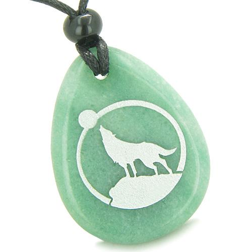Amulet Courage Howling Wolf Moon Good Luck Aventurine Totem Pendant Necklace