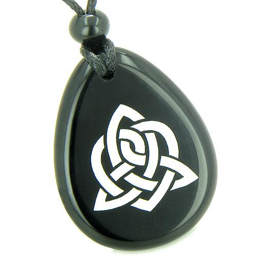 Amulet Triple Magic Energy Celtic Triquetra Shield Knot Spiritual Onyx Totem Pendant Necklace