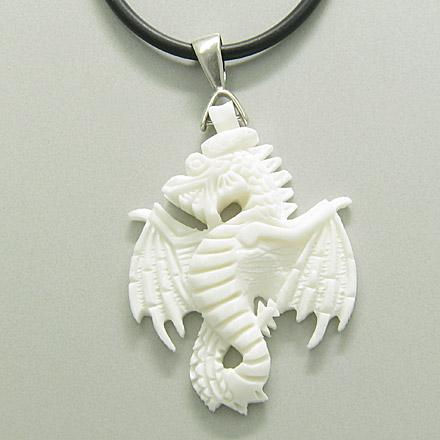 Hand Carved White Bone Dragon Amulet Silver Rubber Necklace