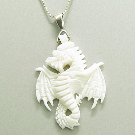 Hand Carved White Bone Dragon Amulet Silver Pendant Necklace