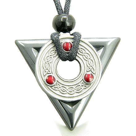 Amulet Triangle Protection Celtic Triquetra Hematite Necklace
