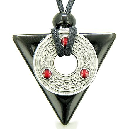 Amulet Triangle Spiritual Celtic Triquetra Black Onyx Necklace
