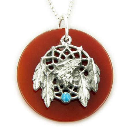 The Amulet Carnelian Wolf Dream Catcher Pendant 925 Silver Necklace