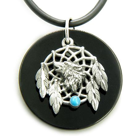 The Amulet Black Onyx Wolf Magic Dream Catcher Circle Necklace