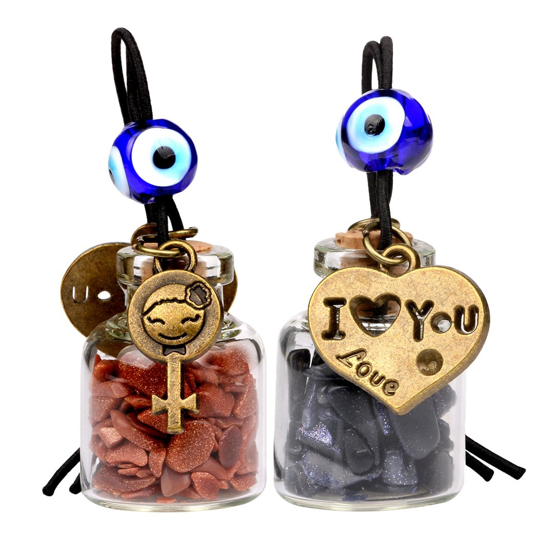 Love Couple I Love You Heart Small Car Charms or Home Decor Gem Bottles Blue Red Goldstone Amulets