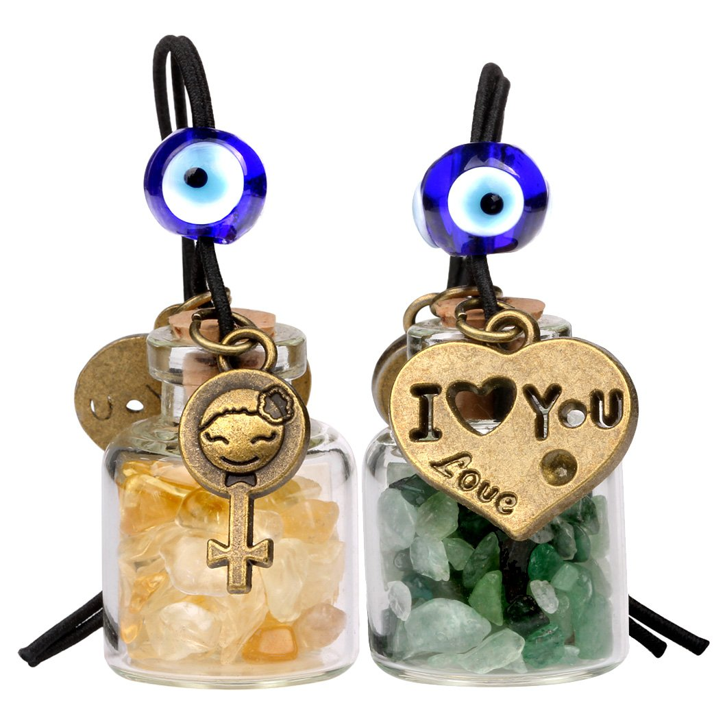 Love Couple I Love You Heart Small Car Charms or Home Decor Bottles Green Quartz Citrine Amulets
