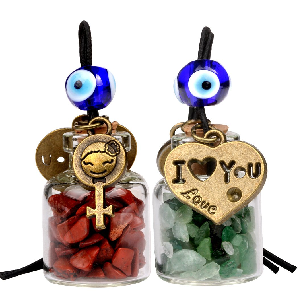 Love Couple I Love You Heart Small Car Charms or Home Decor Bottles Green Quartz Red Jasper Amulets