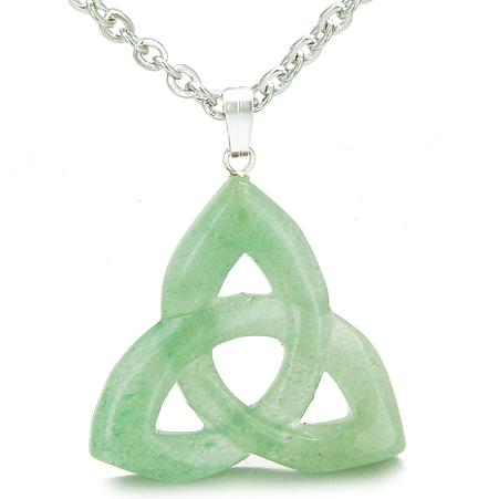 Celtic Triquetra Knot Magic Amulet Green Aventurine Good Luck Powers Gemstone Pendant Necklace
