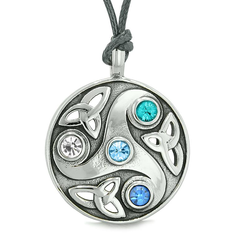 Goddess Celtic Triquetra Knot Protection AmuletCircle White Royal Sky Blue Crystals Necklace