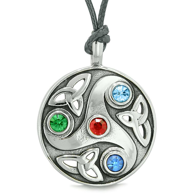 Goddess Celtic Triquetra Knot Protection Amulet Circle Red Green Blue Crystal Pendant Necklace