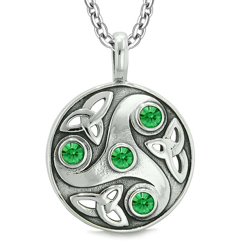 Goddess Celtic Triquetra Knot Protection AmuletCircle Royal Green Crystals Pendant Necklace