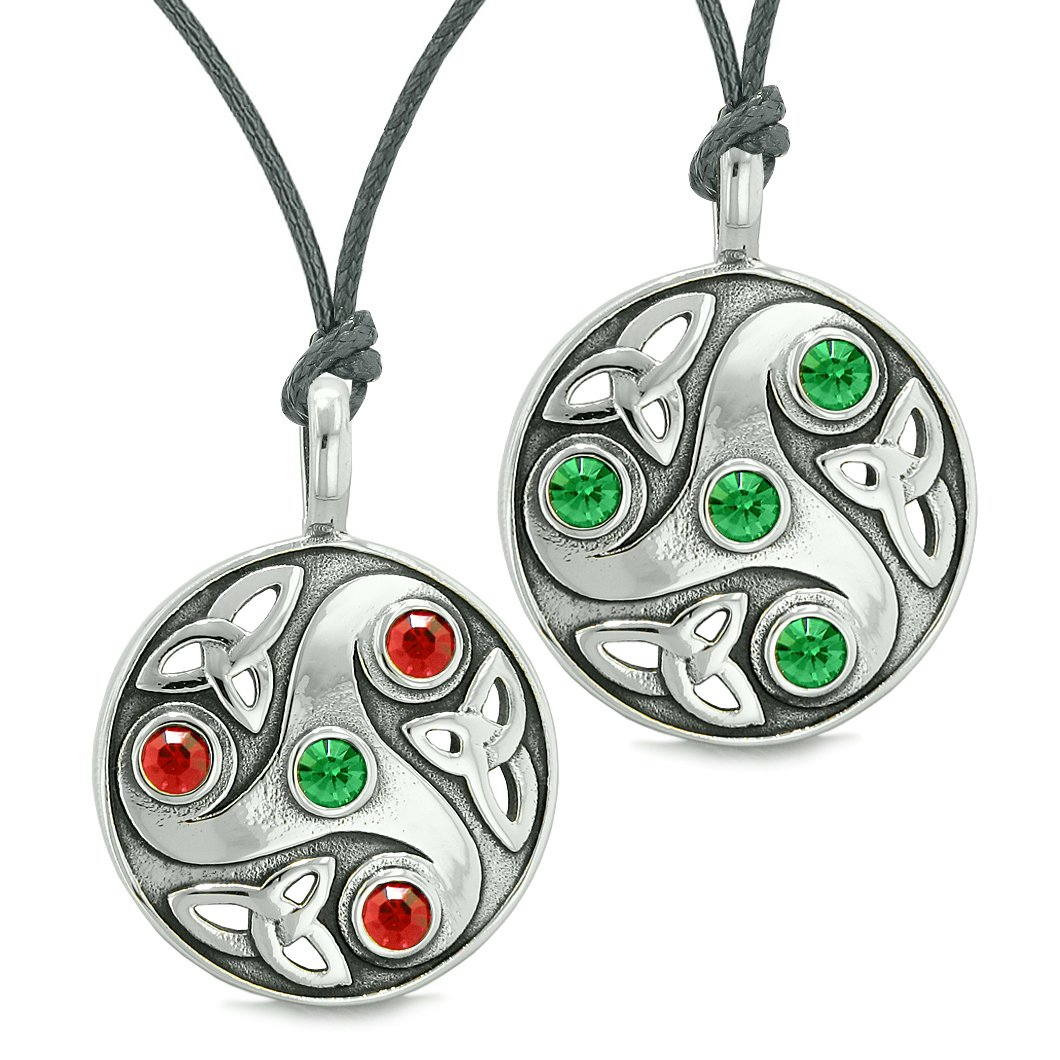 Goddess Celtic Triquetra Amulets Love Couples or Best Friends Royal Red Green Adjustable Necklaces