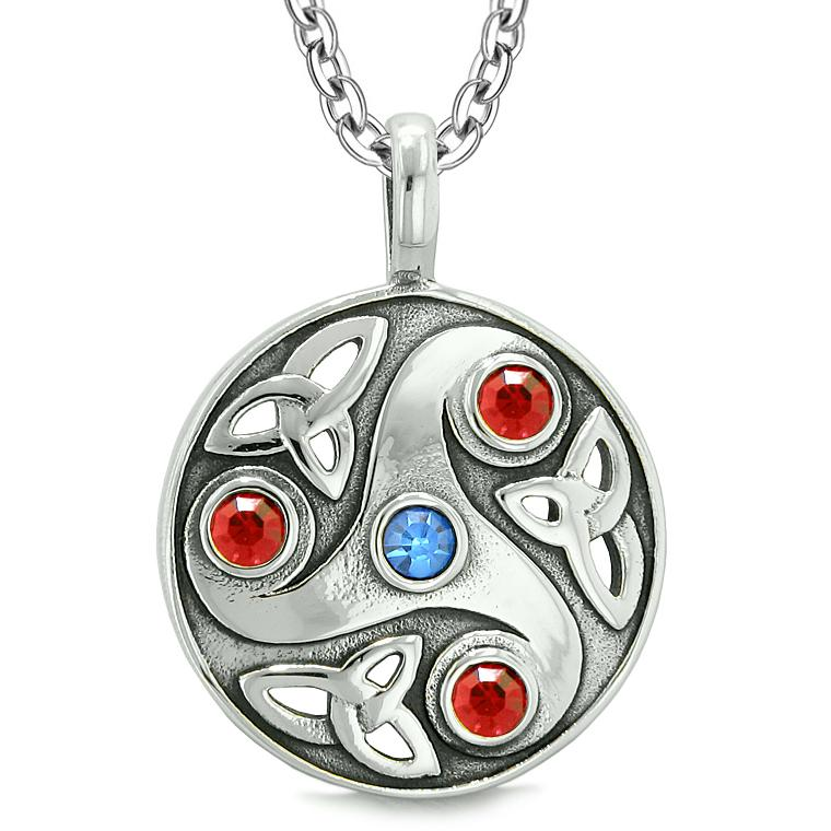 Goddess Celtic Triquetra Knot Protection AmuletCircle Royal Blue Red Crystals Pendant Necklace