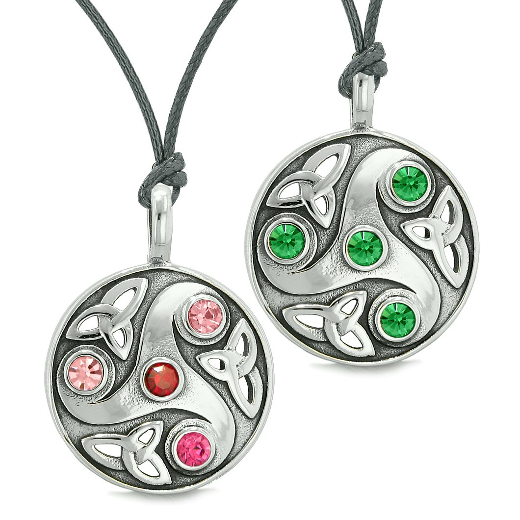 Goddess Celtic Triquetra Amulets Love Couples or Best Friends Set Red Green Pink Necklaces