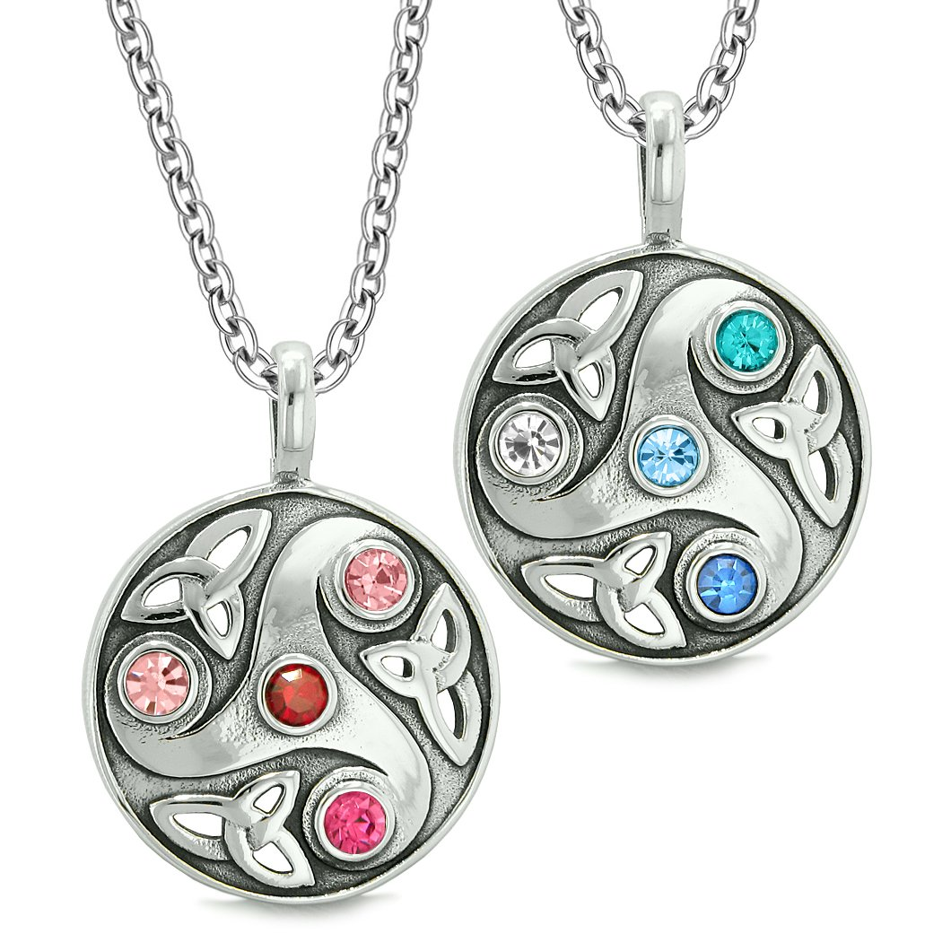 Goddess Celtic Triquetra Amulets Love Couples or Best Friends Red Blue White Pink Pendant Necklaces