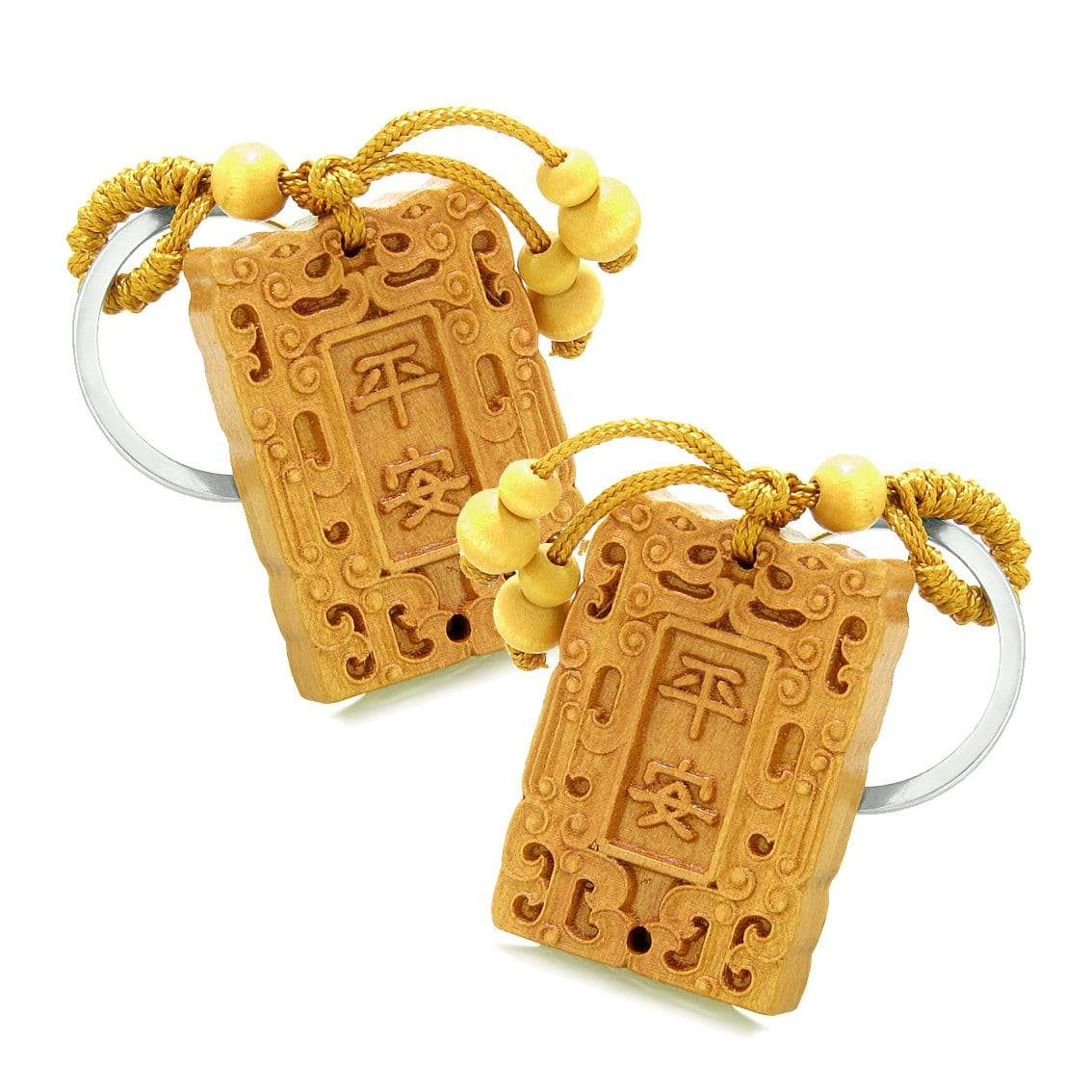 Amulet Good Luck Charm Tablet Magic Powers Feng Shui Symbols Keychain Set Blessings
