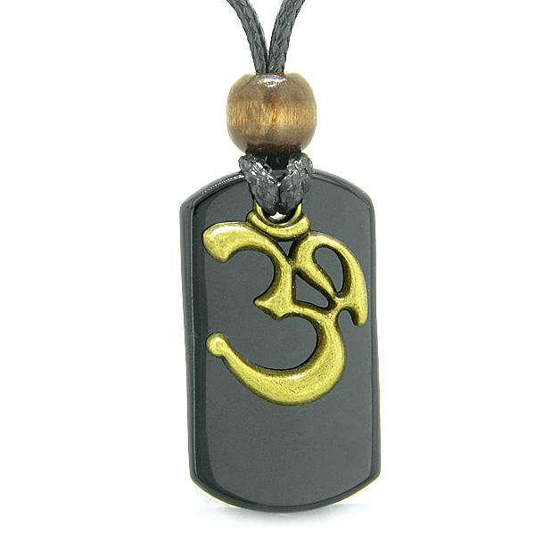 Ancient OM Tibetan Amulet Magic and Protection Powers Black Agate Tag Pendant Necklace