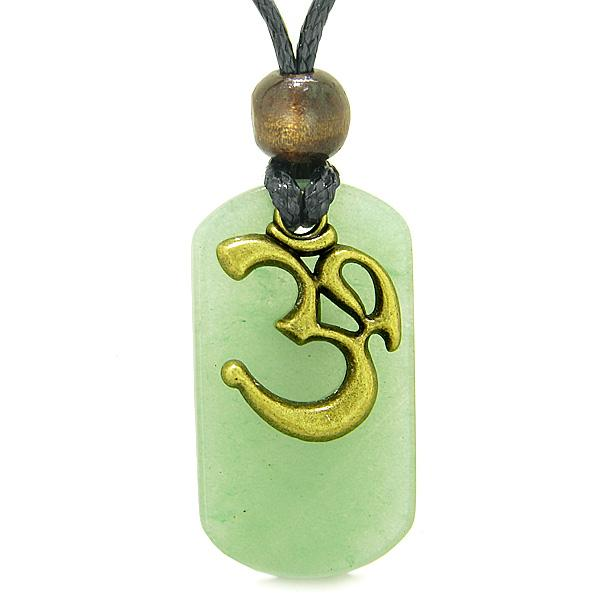 Ancient OM Tibetan Amulet Magic and Protection Powers Green Quartz Tag Pendant Necklace