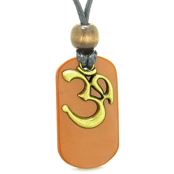 Ancient OM Tibetan Amulet Magic and Protection Powers Red Jasper Tag Pendant Necklace