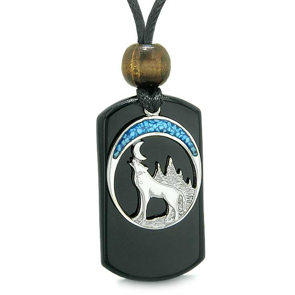 Howling Wolf Wild Moon Protection Powers Black Agate Simulated Turquoise Amulet Pendant Necklace