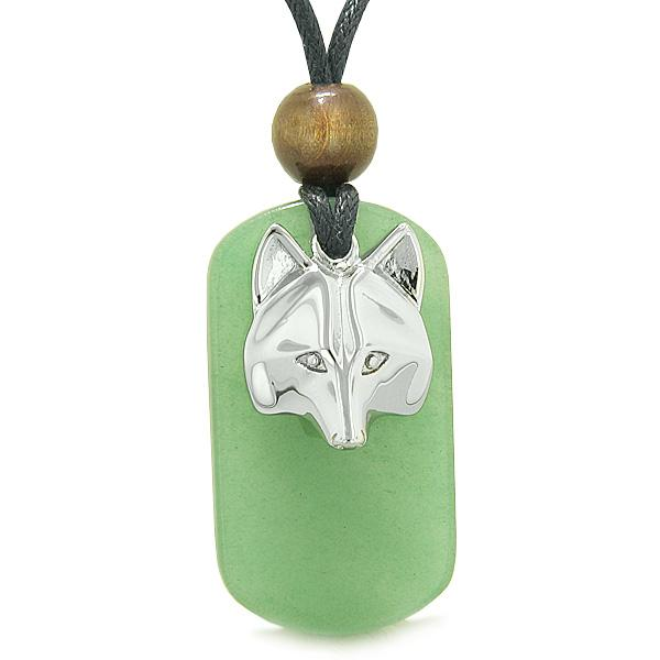 Courage and Wise Wolf Head Protection Magic Powers Green Quartz Amulet Tag Pendant Necklace