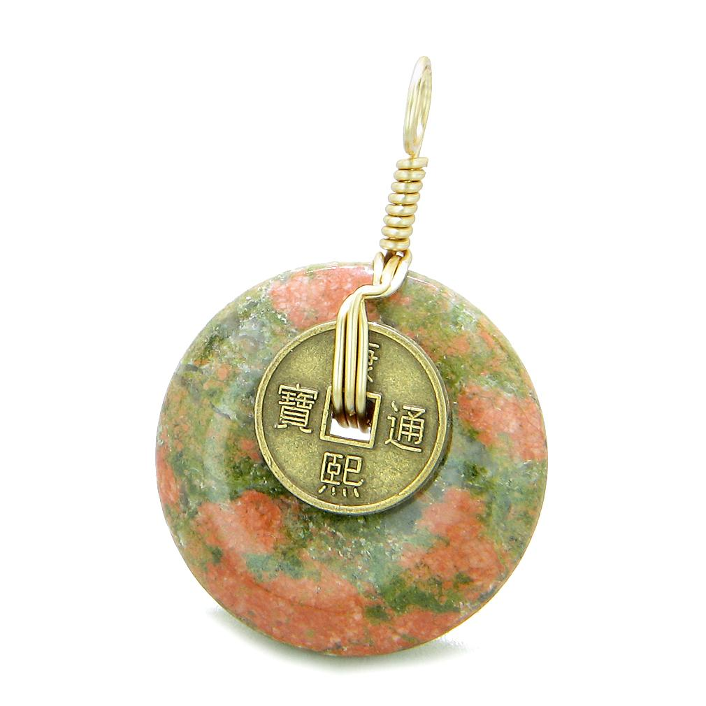 Lucky Coin Donut Gold-Tone Good Luck Powers Fortune Amulet Unakite Unique Pendant