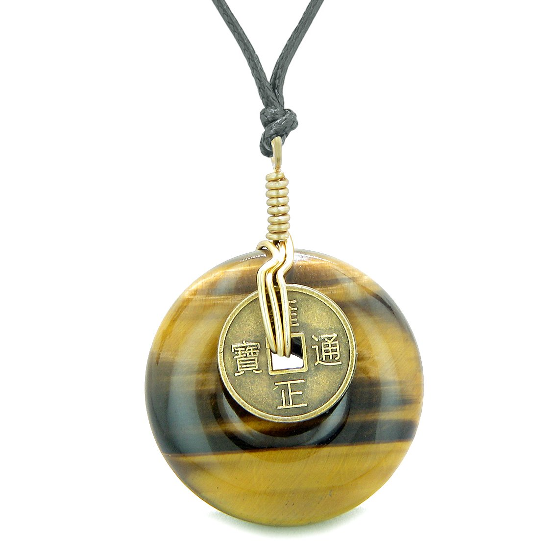 Lucky Coin Donut Gold-Tone Good Luck Powers Fortune Amulet Tiger Eye Unique Necklace