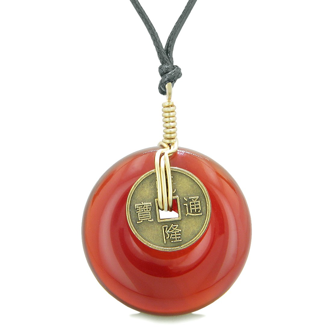 Lucky Coin Donut Gold-Tone Good Luck Powers Fortune Amulet Carnelian Unique Necklace