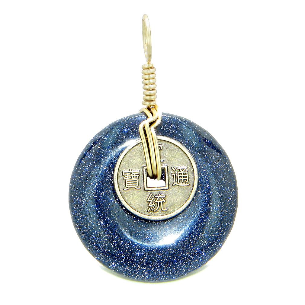 Lucky Coin Donut Gold-Tone Good Luck Powers Fortune Amulet Blue Goldstone Unique Pendant