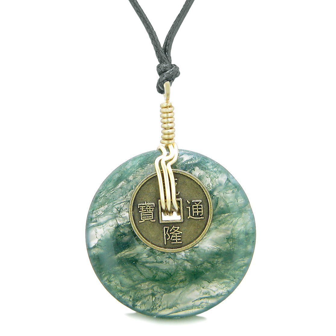Lucky Coin Donut Gold-Tone Good Luck Powers Fortune Amulet Green Moss Agate Unique Necklace