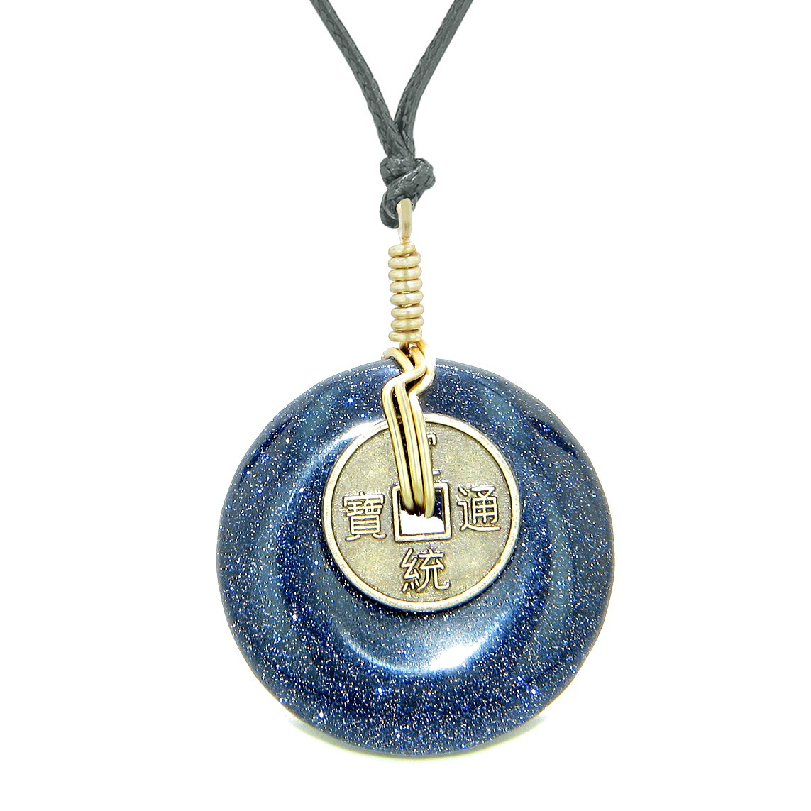 Lucky Coin Donut Gold-Tone Good Luck Powers Fortune Amulet Blue Goldstone Unique Necklace