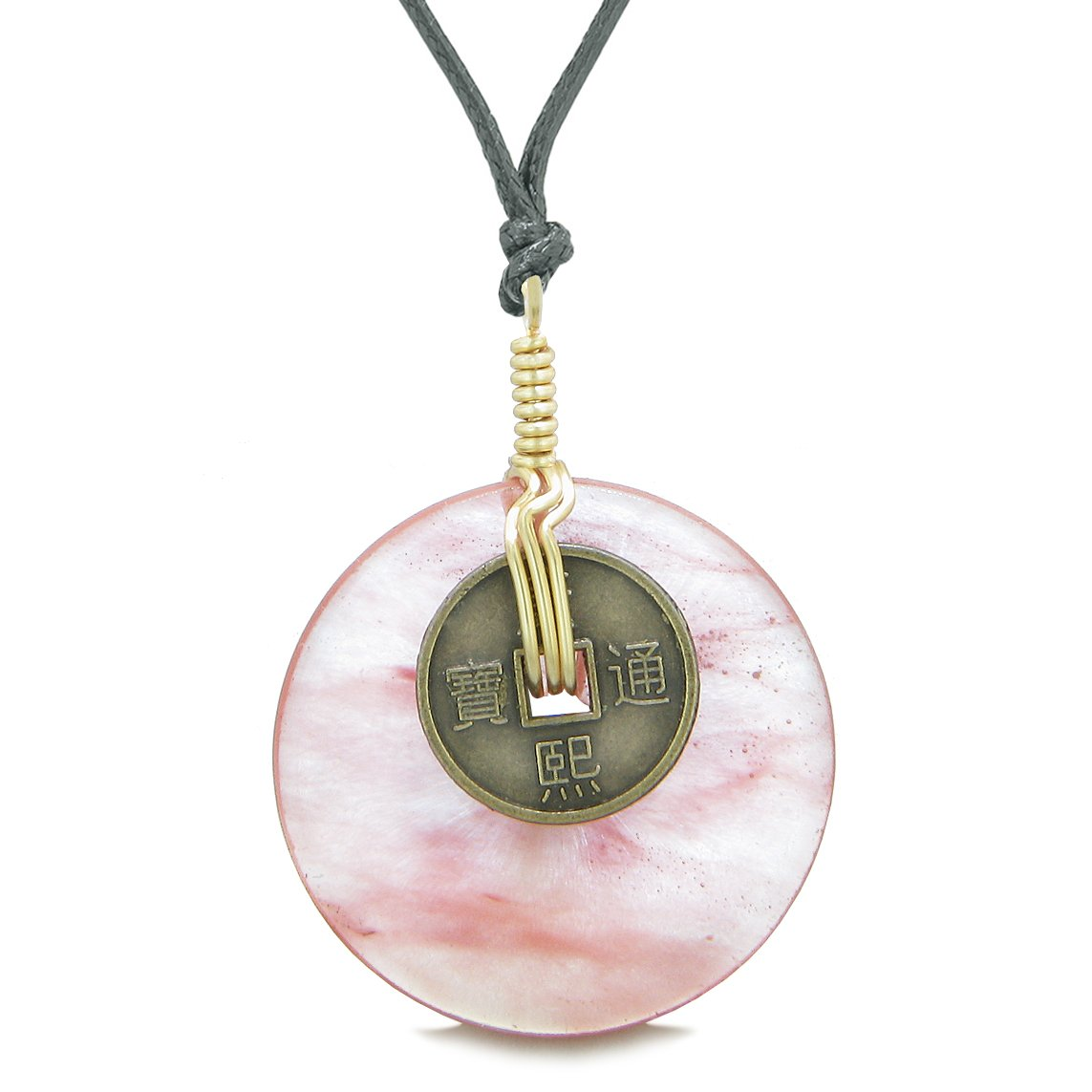 Lucky Coin Donut Gold-Tone Good Luck Powers Fortune Amulet Simulated Cherry Quartz Unique Necklace